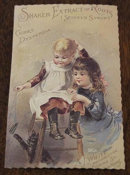 "The original copyright on this 2.5"" x 4"" advertising card is 1891. I'm pretty certain this is a reprint, for the original would have had the advertisment written out below on the back. Mine is blank."